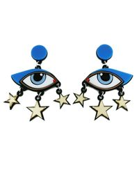 Yazbukey - Blue Bette Davis Eye Earrings - Lyst