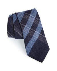 Burberry - Blue 'manston' Check Cashmere & Silk Tie for Men - Lyst