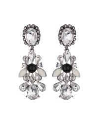 Mikey | White Drop Side Bow Crystals Earring | Lyst