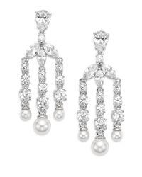 Adriana Orsini | Metallic Chandelier Faux Pearl Drop Earrings | Lyst