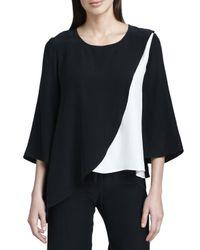 Neiman Marcus - Black Colorblock Silk Blouse - Lyst