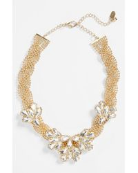 Natasha Couture - Metallic Braided Floral Crystal Necklace - Lyst
