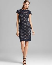 ML Monique Lhuillier | Natural Lace Dress Cap Sleeve | Lyst