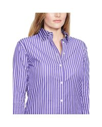 Ralph Lauren - Purple Striped Cotton Poplin Shirt - Lyst