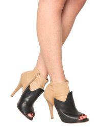 Maison Margiela | Black 100mm Two Tone Leather Open Toe Boots | Lyst