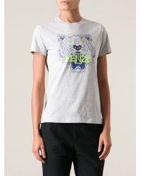 KENZO - Gray Jungle Logo Tshirt - Lyst