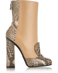 Gucci - Multicolor Horsebit-detailed Python And Leather Ankle Boots - Lyst