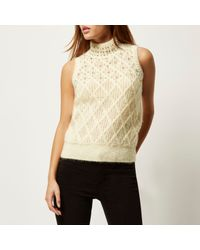 82a676281680c1 River Island. Women s Cream Embellished Knitted Sleeveless Top