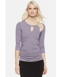 Vince Camuto | Purple Keyhole Stretch-Knit Top | Lyst