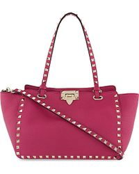 Valentino | Rockstud Small Grained Leather Tote, Women's, Pink | Lyst