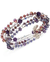 Jones New York | Silver-Tone Mixed Purple Bead Stretch Bracelet | Lyst