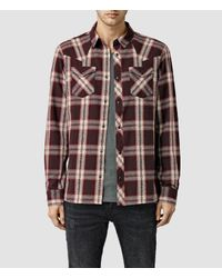 AllSaints | Brown Hellertown Shirt Usa Usa for Men | Lyst