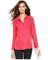 INC International Concepts - Pink Woven-Front Utility Shirt - Lyst