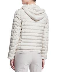 Brunello Cucinelli - Gray Quilted Silk-Taffeta Jacket - Lyst