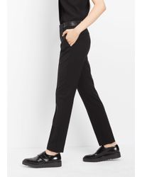 VINCE | Black Pintuck Leather Tab Full Length Trouser | Lyst