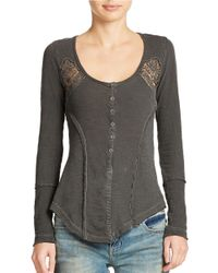 Free People | Gray Keepsake Crochet Inset Slub Henley | Lyst