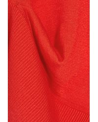 Alexander Wang - Red Tuck Asymmetric Stretch Silk And Cotton-blend Sweater - Lyst