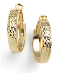 Lord & Taylor - Metallic 18 Kt Gold Plated Engraved Wide Hoop Earrings - Lyst
