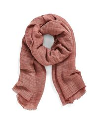 Hinge | Red Texture Stripe Scarf | Lyst