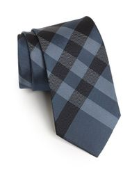 Burberry | Blue Woven Silk Tie for Men | Lyst