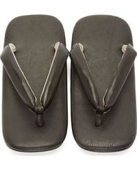 Junya Watanabe - Black Leather Square Sandals for Men - Lyst