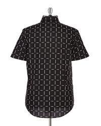 Guess | Black Patterned Sportshirt for Men | Lyst