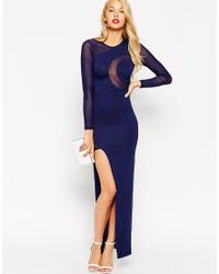 ASOS - Blue Curved Mesh Bodycon Maxi Dress - Lyst