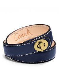COACH | Blue Leather Double Wrap Turnlock Bracelet | Lyst
