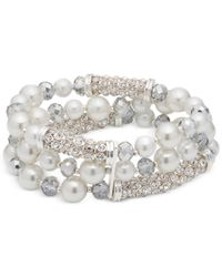 Anne Klein - Metallic Silver-tone Imitation Pearl And Crystal Coil Stretch Bracelet - Lyst