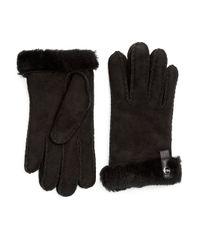 UGG | Black Australia Lurex Crochet Gloves With Shearling Sheepskin Cuff | Lyst