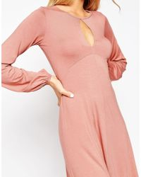 ASOS - Pink Midi Dress With Keyhole Detail - Lyst