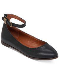 Lucky Brand | Black Women's Gyllian Ankle Strap Ballet Flats | Lyst