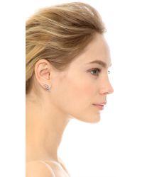 Fallon - Metallic Pave Wing Earrings Silver - Lyst