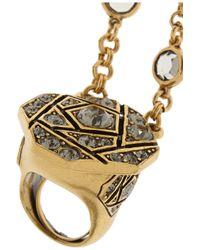 Oscar de la Renta | Metallic Gold-tone Crystal Finger Bracelet | Lyst