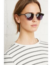 Forever 21 | Gray Round Browline Sunglasses | Lyst