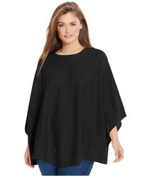 Calvin Klein | Black Plus Size Diagonal-seamed Poncho Sweater | Lyst