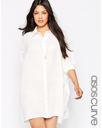 ASOS - White Curve Oversized Longline Blouse - Lyst