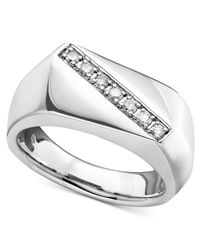Macy's | Metallic Men's Sterling Silver Ring, Diamond Five Stone (1/5 Ct. T.w.) for Men | Lyst