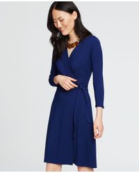 Ann Taylor - Blue 3/4 Sleeve Wrap Dress - Lyst