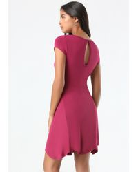 Bebe | Red Logo Back Keyhole Dress | Lyst