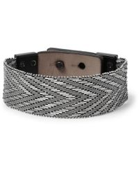Lanvin - Metallic Metal Mesh and Leather Bracelet for Men - Lyst