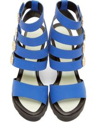 KENZO - Blue Cobalt Leather Medallion Wedge Sandals - Lyst