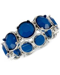 Macy's | M. Haskell Silver-Tone Round Blue Bead Stretch Bracelet | Lyst
