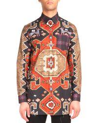 Givenchy - Orange Persian-print Long-sleeve Shirt for Men - Lyst
