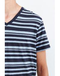 BDG - Blue Vale Heather Stripe Standard-fit V-neck Tee for Men - Lyst