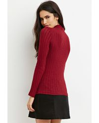 Forever 21 | Purple Mock Neck Ribbed Top | Lyst