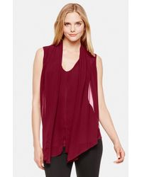 Vince Camuto | Purple Chiffon Overlay Sleeveless Top | Lyst