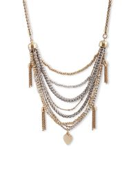 Lucky Brand | Metallic Semi-Precious Rock Crystal And Two-Tone Layered Necklace | Lyst