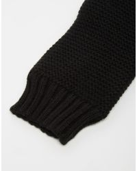 Pieces - Black Knitted Mittens - Lyst