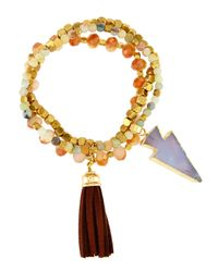 Panacea - Orange Beaded Triple-layer Stretch Bracelet - Lyst
